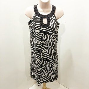 LOFT 0P Dress Brown White Abstract Keyhole Sheath